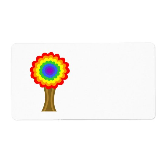 Bright Colourful Tree in Rainbow Colours. Shipping Label