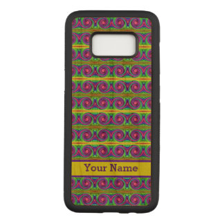 Bright colourful yellow purple curls pattern carved samsung galaxy s8 case