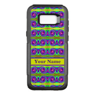 Bright colourful yellow purple curls pattern OtterBox commuter samsung galaxy s8+ case