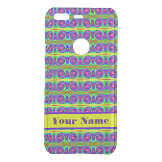 Bright colourful yellow purple curls pattern uncommon google pixel case