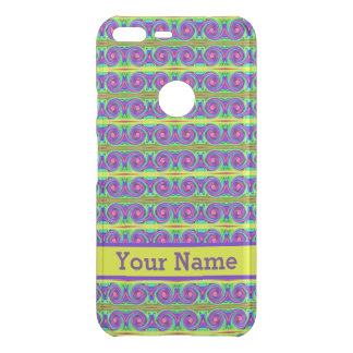 Bright colourful yellow purple curls pattern uncommon google pixel XL case