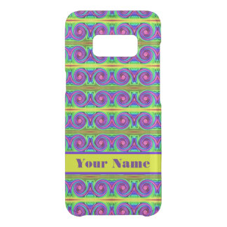 Bright colourful yellow purple curls pattern uncommon samsung galaxy s8 case