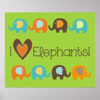 Bright Colours I Love Elephants Nursery Poster
