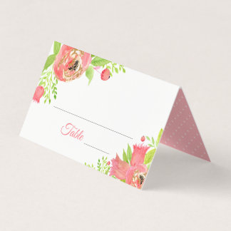 Bright Coral Pink Floral Garden Wedding Place Card