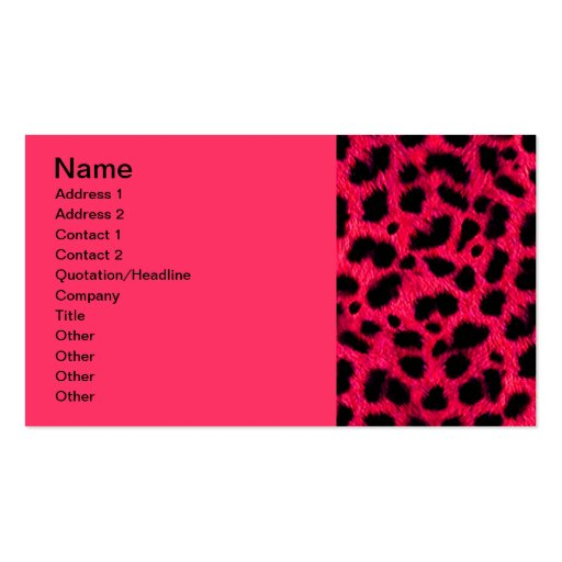 BRIGHT CORAL PINK HOT BLACK ANIMAL PRINT PATTERN D BUSINESS CARDS