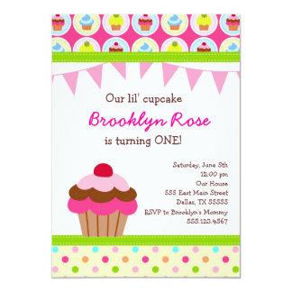 "Bright Cupcake Invitations - First Birthday Party 5"" X 7"" Invitation Card"