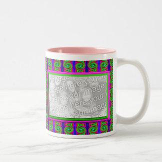 Bright curls photo frame Two-Tone mug