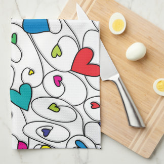 Bright curly hearts hand towels