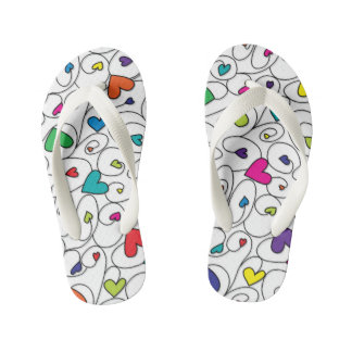 Bright curly hearts kid's flip flops