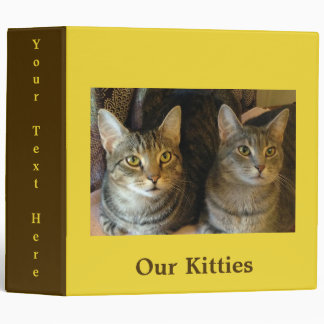 Bright Customizable Tabby Kitty Cat 3 Ring Binders