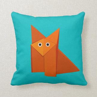 Bright Cute Origami Fox Throw Pillow