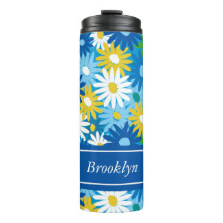 Bright daisies 70's style add your name thermal tumbler