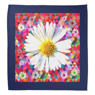 Bright daisy on multicolored patchwork bandana