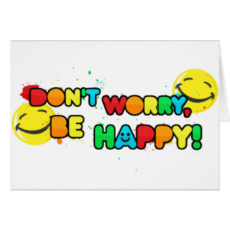 bright don't worry be happy smiley face design card