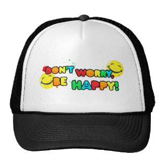 bright don't worry be happy smiley face design trucker hat