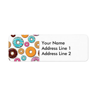 Bright Donut Whimsical Pattern Return Address Label