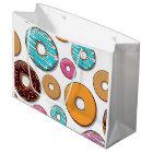 Bright Doughnut Whimsical Pattern Large Gift Bag