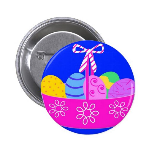 Bright Easter Basket Drawing Button