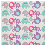 Bright Elephants on White Fabric