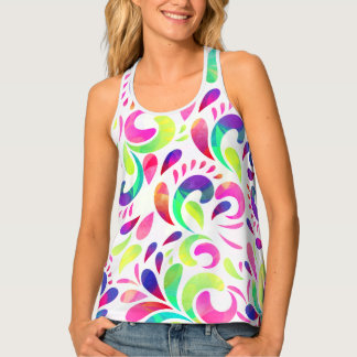 Bright extravaganza festive carnival color burst tank top