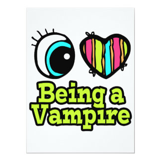 "Bright Eye Heart I Love Being a Vampire 6.5"" X 8.75"" Invitation Card"