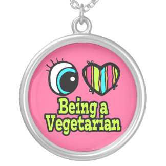 Bright Eye Heart I Love Being a Vegetarian Silver Plated Necklace