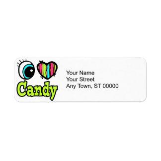 Bright Eye Heart I Love Candy Return Address Label