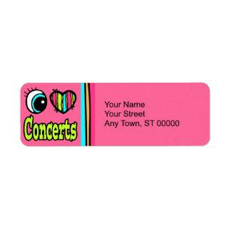 Bright Eye Heart I Love Concerts Custom Return Address Label