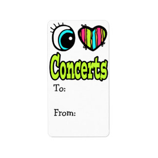 Bright Eye Heart I Love Concerts Address Label