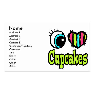 Bright Eye Heart I Love Cupcakes Business Card
