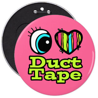 Bright Eye Heart I Love Duct Tape 6 Inch Round Button