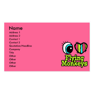 Bright Eye Heart I Love Flying Monkeys Double-Sided Standard Business Cards (Pack Of 100)