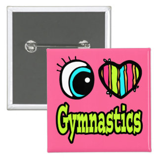 Bright Eye Heart I Love Gymnastics 2 Inch Square Button