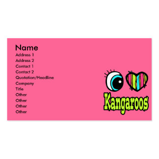 Bright Eye Heart I Love Kangaroos Business Card Template