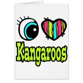 Bright Eye Heart I Love Kangaroos Greeting Card