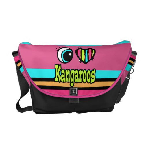 Bright Eye Heart I Love Kangaroos Courier Bags