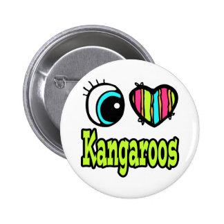 Bright Eye Heart I Love Kangaroos Pinback Buttons