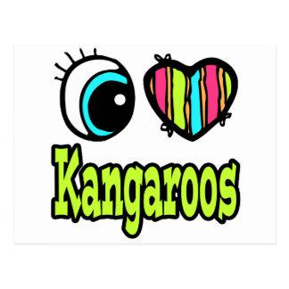 Bright Eye Heart I Love Kangaroos Postcard