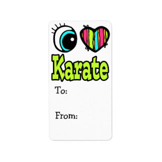 Bright Eye Heart I Love Karate Personalized Address Labels
