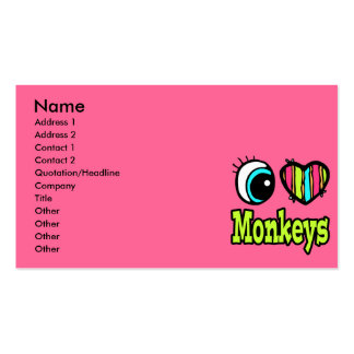 Bright Eye Heart I Love Monkeys Double-Sided Standard Business Cards (Pack Of 100)
