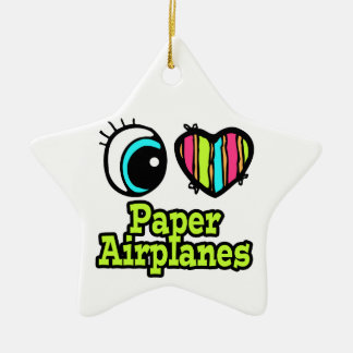Bright Eye Heart I Love Paper Airplanes Ceramic Ornament