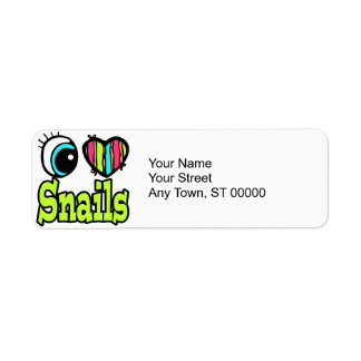 Bright Eye Heart I Love Snails Return Address Label