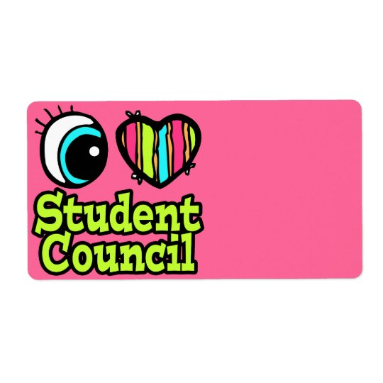 Bright Eye Heart I Love Student Council Shipping Label