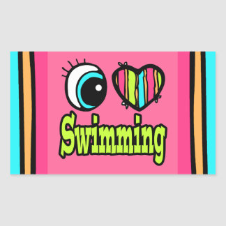 Bright Eye Heart I Love Swimming Sticker