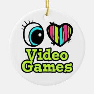 Bright Eye Heart I Love Video Games Ceramic Ornament