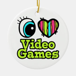 Bright Eye Heart I Love Video Games Round Ceramic Ornament