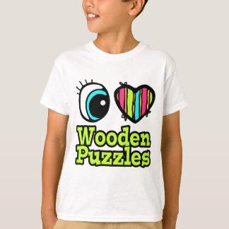 Bright Eye Heart I Love Wooden Puzzles T-Shirt