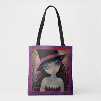 Bright Eyed Witch Big Eye Girl Fantasy Art Tote Bag