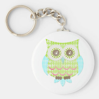 Bright Eyes Owl Basic Round Button Keychain