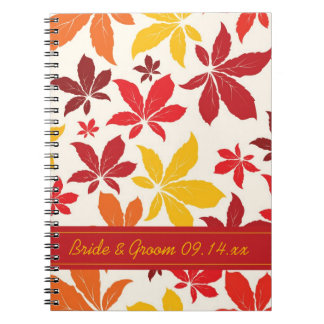 Bright Fall Leaves Wedding Notebook